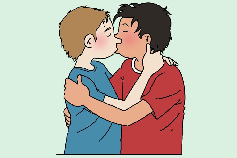 twee jongens die kussen