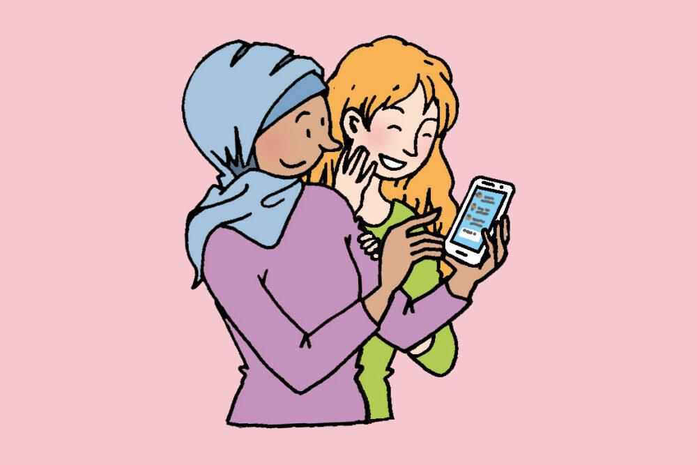twee meisjes op mobiel