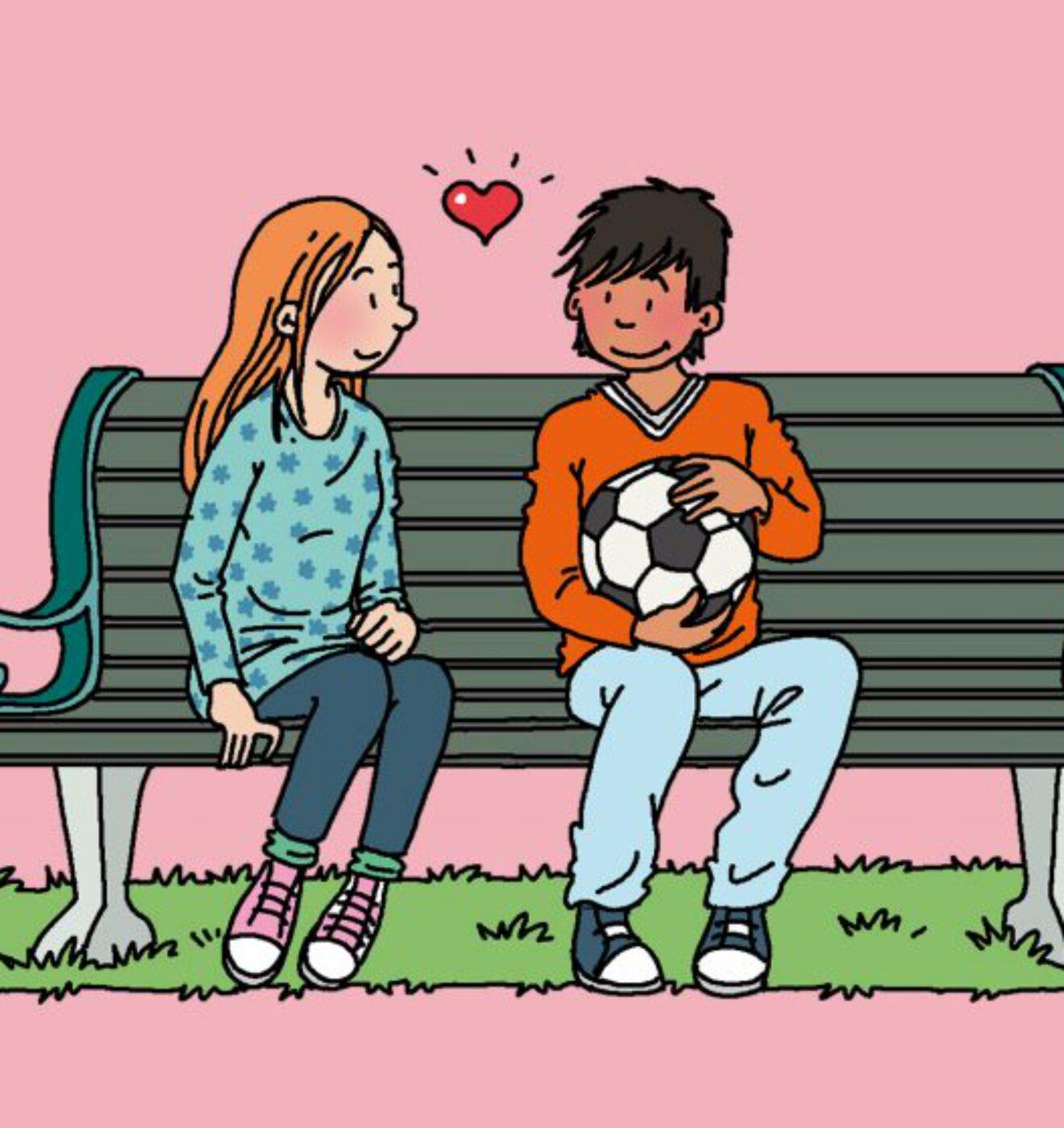 verliefde pubers op een bankje